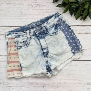 Mossimo American Flag Acid Wash Denim Jean Shorts
